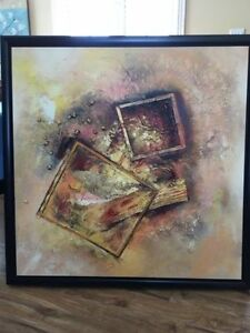 Large framed oil painting abstract