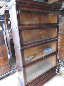 antique barrister lawyers bookcase... 4 glass levels