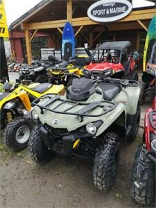 34 DOLLARS WEEKLY FOR A BASE 450 CAN AM WITH 38 HP AND 5 YR WARR
