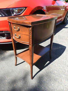 antique (vintage) walnut end or bedside table with glass top