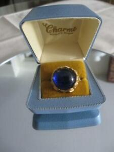 EYE-CATCHING VINTAGE ADJUSTABLE COBALT BLUE RING