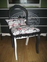 Reclaimed Vntg Chair! Chalk Painted & Recovered Auction Find!~