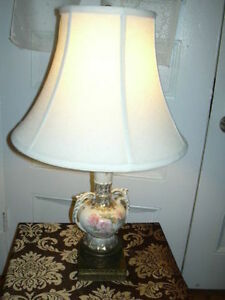 Antique English floral china and brass lamp