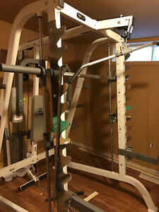 Keys Smith Machine, Hoist Bench, Rubber Coated Plates, Bars.