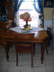 Vintage 1927 Gibbard walnut dining table with leaf and chairs