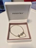 Pandora SILVER COLLIER + Heart Silver Safety Chain Charm