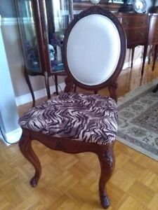 Antique Carved Mahogany Chair w Tiger Print
