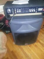 Loud DJ / Band PA speakers with POWER AMP and case