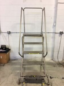 Warehouse Rolling Ladder 5 Steps! silver