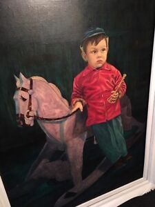 Painting Little boy and rocking horse Peterborough Peterborough Area image 1