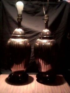 ETHAN ALLEN 100% BRASS TABLE LAMPS w/ ROSEWOOD bases