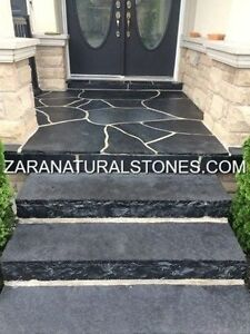Kota Black Natural Stone Steps Outdoor Charcoal Limestone Steps