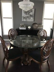 Formal Dining set - Glass with carved wood