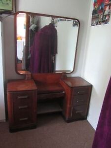 Beautiful dresser with large mirror and stool