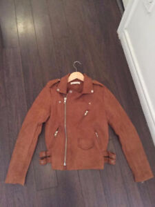NEW TAN  FAUX SUEDE MOTTO JACKET SMALL
