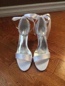 Unworn dressy white heels/sandals