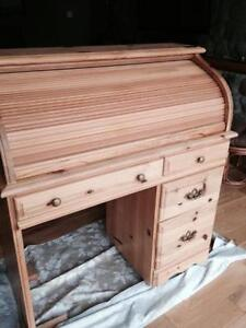 solid wooden pine rolltop secretary desk new London Ontario image 1