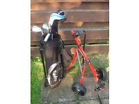 Junior golf bag, clubs and trolley