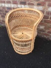 Mid century retro wicker and cane chair