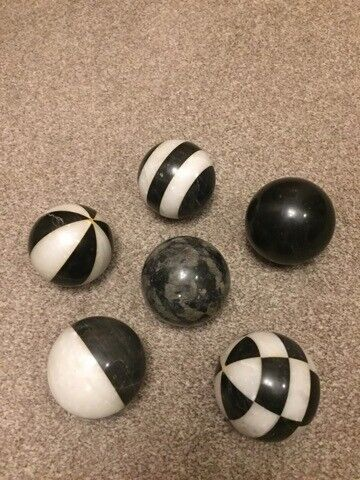 Decorative Marble Balls Set Of 6 Black And White All Different Designs