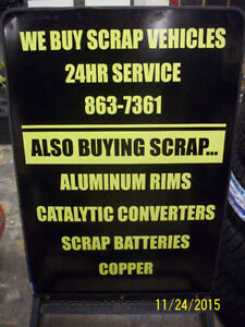 OPEN 24/7 Buying Scrap cars.TOP PRICES PAID.FREE TOW AWAY!