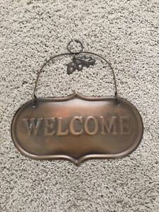 Mint Condition Metal Welcome Door Sign