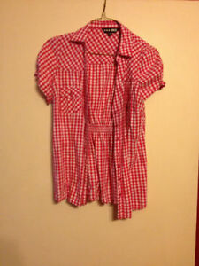Pink and white checkered top, Size M/L