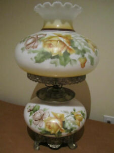 Vintage Large size Hand Painted glass table lamp