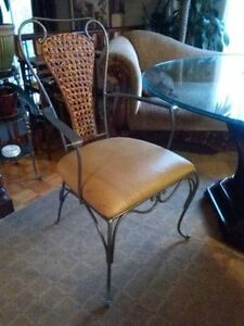 Antique Ostrich Leather & Rattan Chairs Like New!