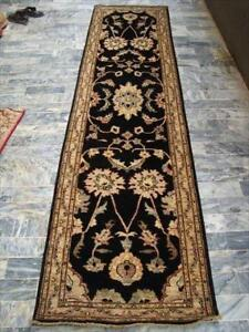 Exclusive Afghan Chobi Zeiglar Black Vegetable Dyed Ghazni Wool Hand Knotted Rectangle Runner Rug (10.3 x 2.7)'