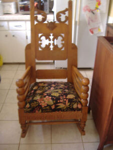 Antique solid oak rocking chair plus other chairs!