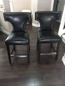 $300 OBO 2 Kings Black Leather Studded Counter Chairs. Very comf