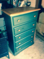 Dark Green Bed frame and stand up dresser
