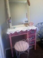 Shabby Chic vanity desk and antique chair