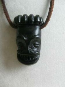 RUSTIC EARTHY 38  LEATHER THONG RARE HEAD-HUNTER NECKLACE