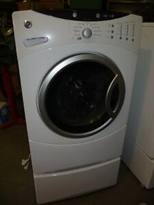 GE HEAVY DUTY FRONT LOAD WASHER AND PEDESTAL