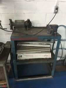 Metal bench with Vise and Grinder