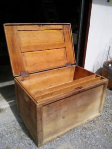 Antique Carpenters Tool Box with wood planes,coffee table
