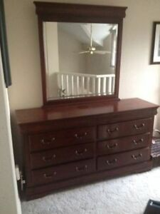 High-End Solid Wood Dresser and Mirror