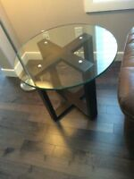 Glass & wood table 22 inch high. Glass is 26 inch wide & half in