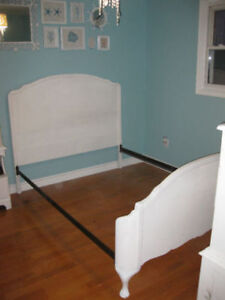 Beautiful White Vintage double bed with curved foot board