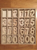 "1.5"" wooden numbers - two sets, great for wedding table numbers"