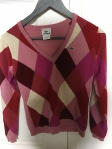 Lacoste pink sweater wool - excellent quality rose laine XS