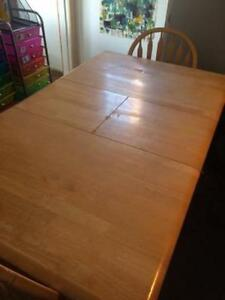 Solid Wood table with butterfly leaf and 4 chairs