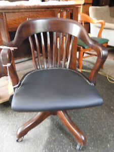 antique Krug swivel office chair, new black leather seat