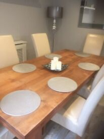 Modern Solid Wood Table with 6 Cream Leather Chairs -- Very Good Condition