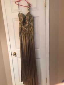 One Shoulder Gold Gown/Dress