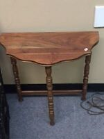 Antique Wooden Half Moon Side Table
