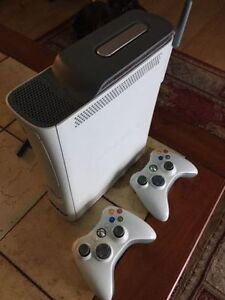 XBOX 360 system, 2 controllers, and more