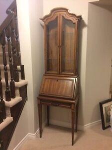 VINTAGE Oak Secretary Desk with Display Shelves